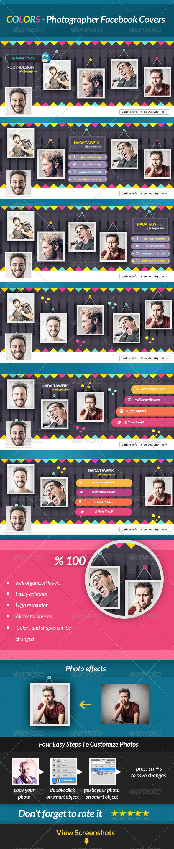 GraphicRiver Colors Photographer Facebook Covers 6783144