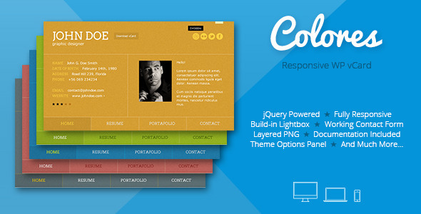 Colores - Responsive Wordpress vCard - Portfolio Creative