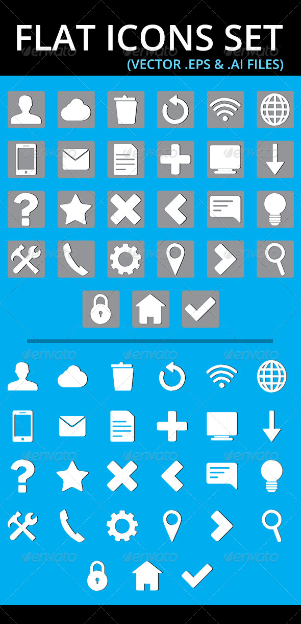 Flat Icons Set - Web Technology