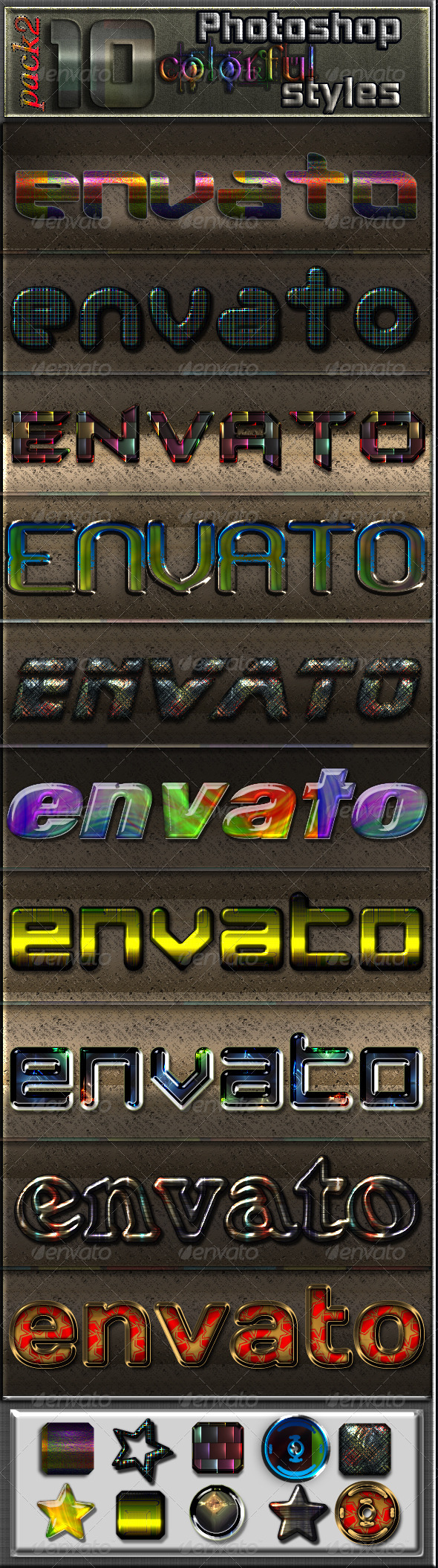 GraphicRiver 10 Colourful Photoshop Text Effects- Pack 2 6784087