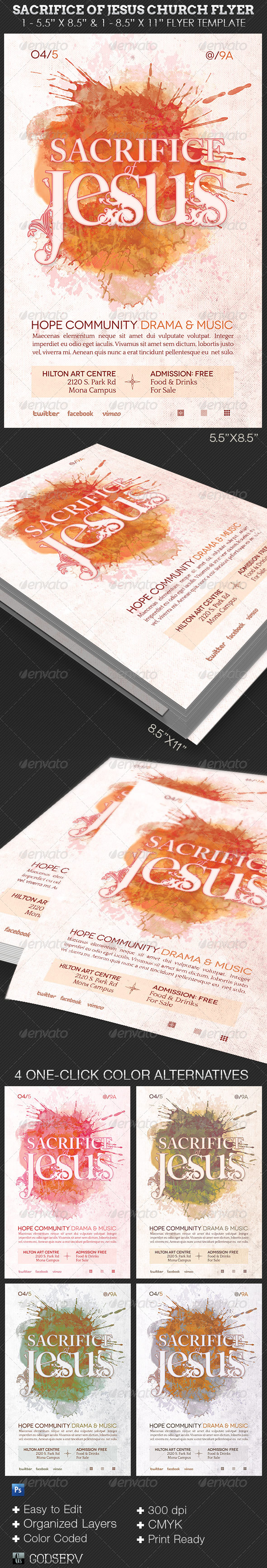 GraphicRiver Sacrifice of Jesus Church Flyer Template 6784111