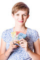 Happy woman holding Australian money - PhotoDune Item for Sale