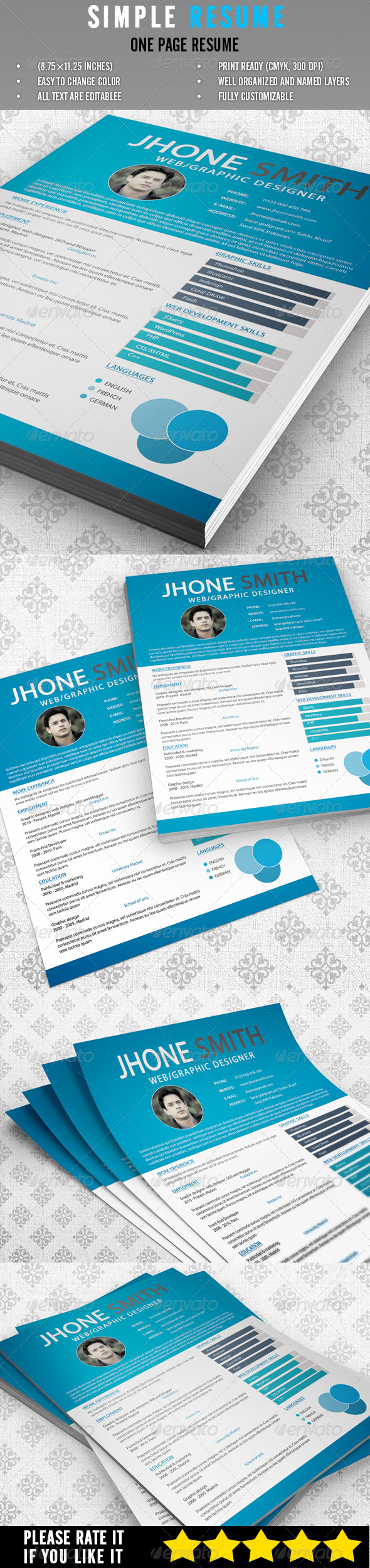 GraphicRiver Simple Resume 6784806