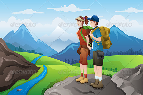 GraphicRiver Backpackers on Top Mountains 6784859