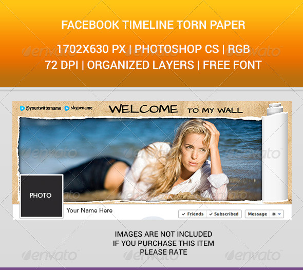 GraphicRiver Facebook Timeline Cover Torn Paper 6775747