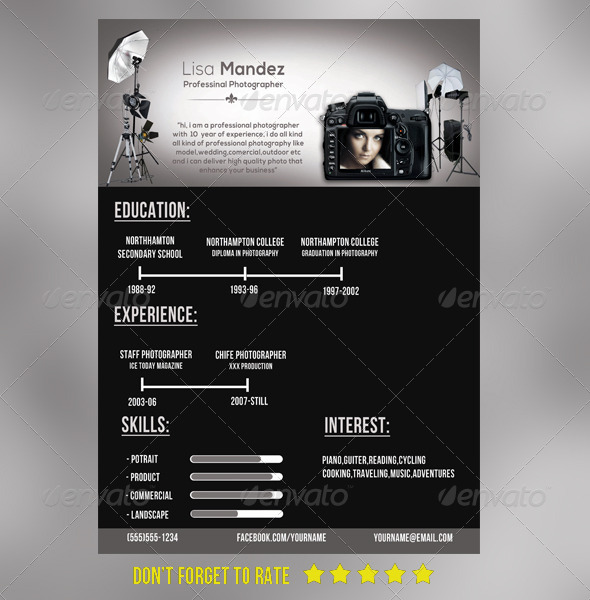 GraphicRiver Simple photographer Resume 6786374