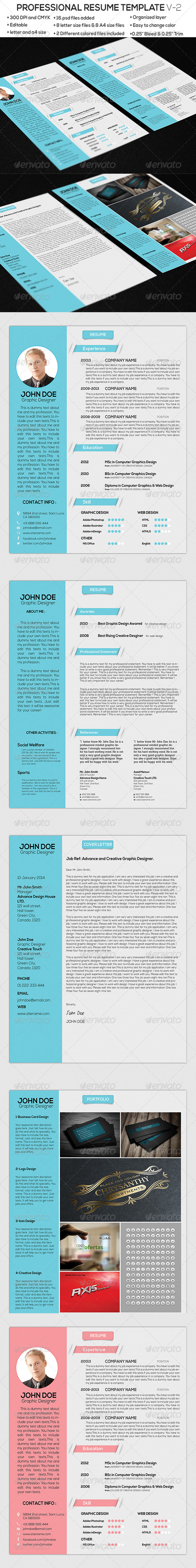 GraphicRiver Professional Resume Template V-1 6789587