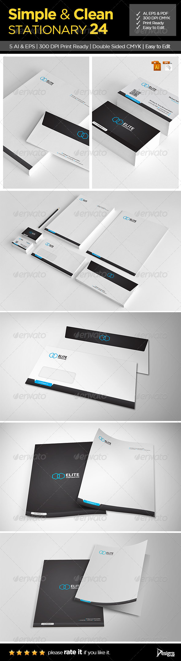 GraphicRiver Simple and Clean Stationary 24 6790028