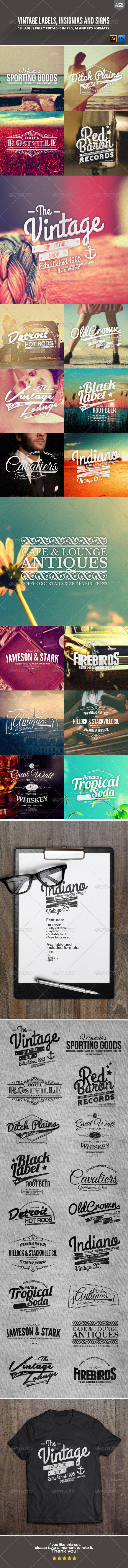GraphicRiver Vintage Labels Insignias and Signs 6790428