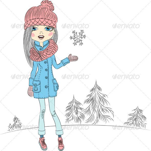 GraphicRiver Fashion Girl in Winter 6790618
