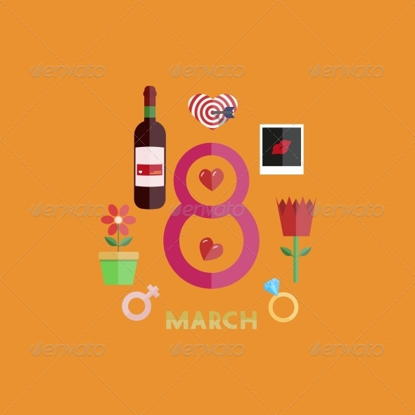 GraphicRiver Vector Flat Modern 8 March Backgrounds EPS10 6790842