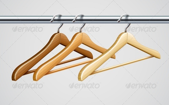 GraphicRiver Wardrobe Tube with Wooden Coat Hangers For Clothes 6790917
