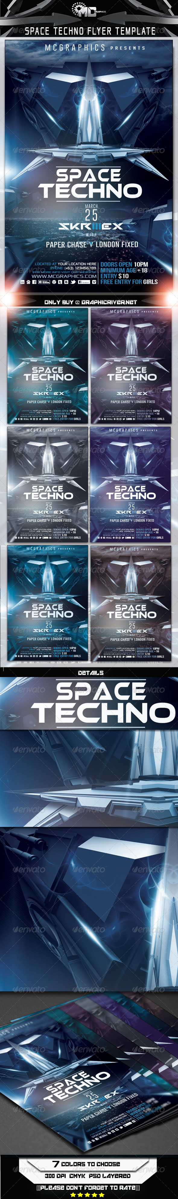 GraphicRiver Space Techno Flyer Template 6790953