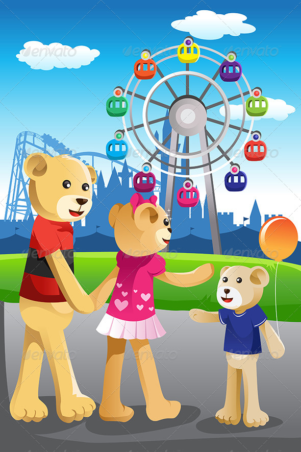 GraphicRiver Bear Family Having Fun at Amusement Park 6791961