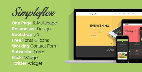 ThemeForest Simpleflex OnePage & MultiPage Flat HTML templat 6790515