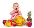 The beautiful baby girl with fresh vegetables - PhotoDune Item for Sale