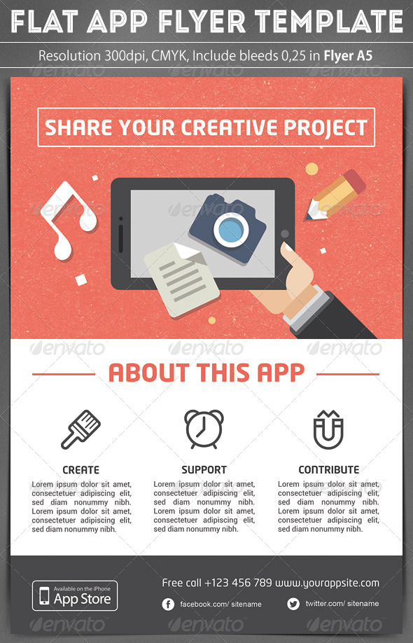 GraphicRiver Flat App Flyer Template 6796033