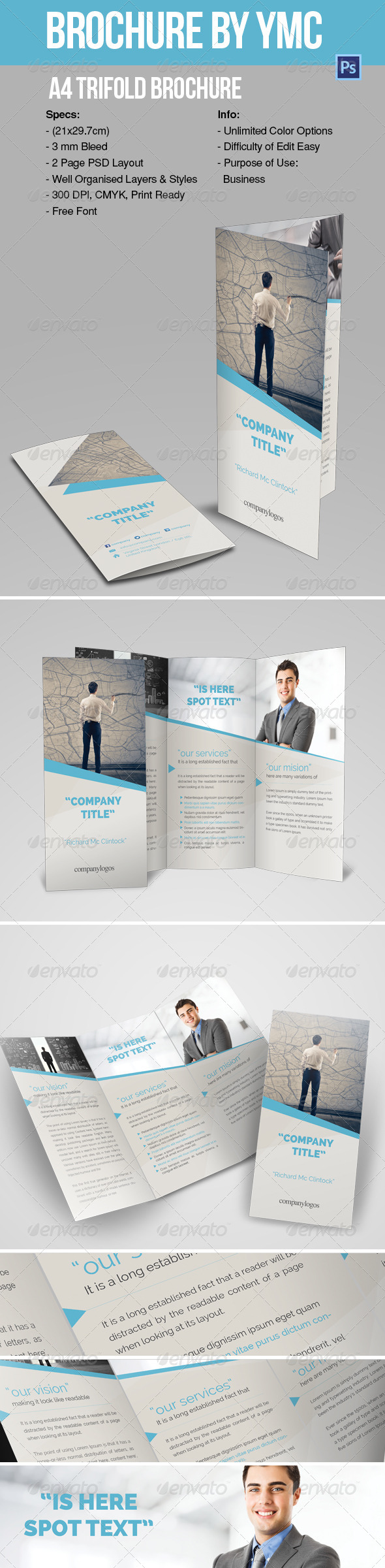 GraphicRiver A4 Trifold Brochure YMC Design 6796967