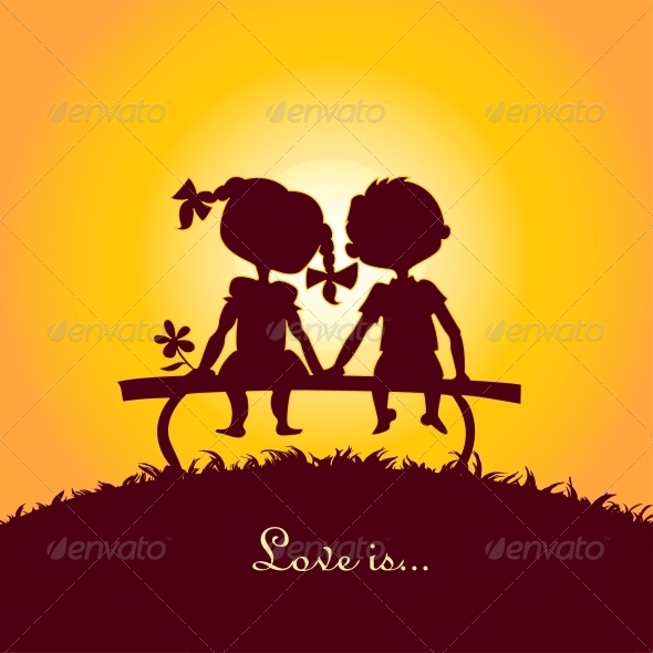 GraphicRiver Sunset Silhouettes of Boy and Girl 6797169