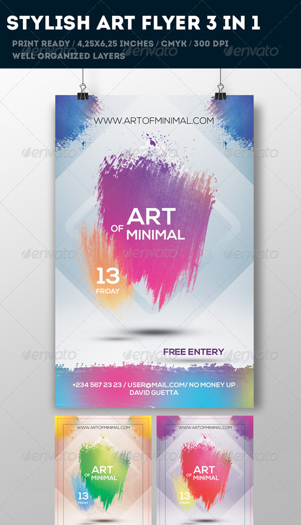 GraphicRiver Pink Art Flyer 3 in 1 6797722