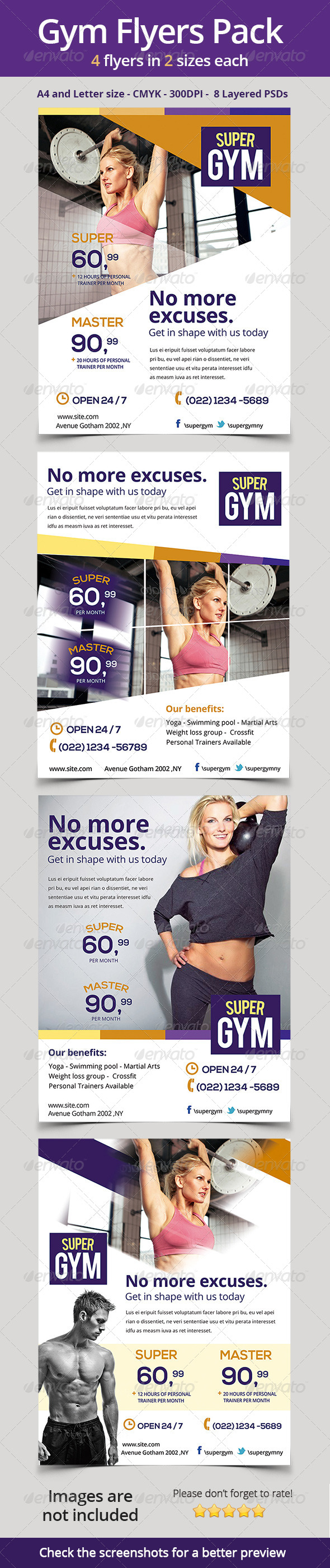 GraphicRiver Gym Fitness Flyers Pack 6797936