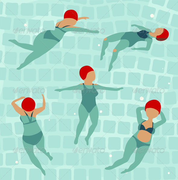GraphicRiver Swimming Women in Pool 6799105