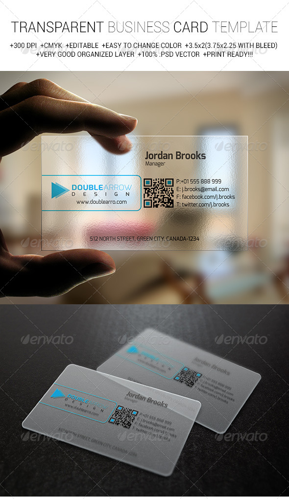GraphicRiver Transparent Business Card Template V-1 6799122