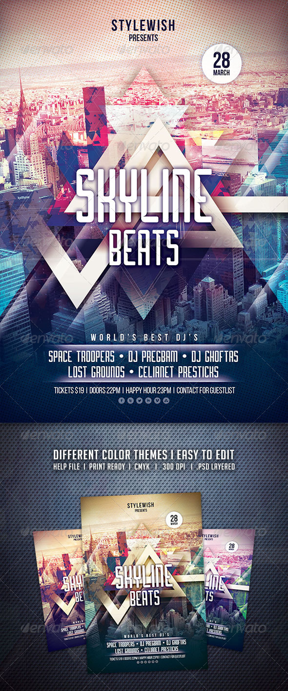 GraphicRiver Skyline Beats Flyer 6799155