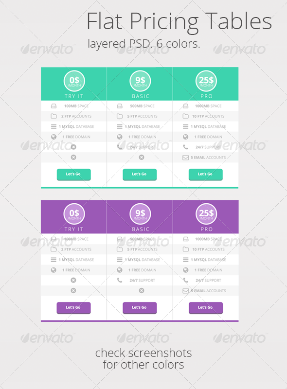 GraphicRiver Flat UI Pricing tables in 6 colors 6799344