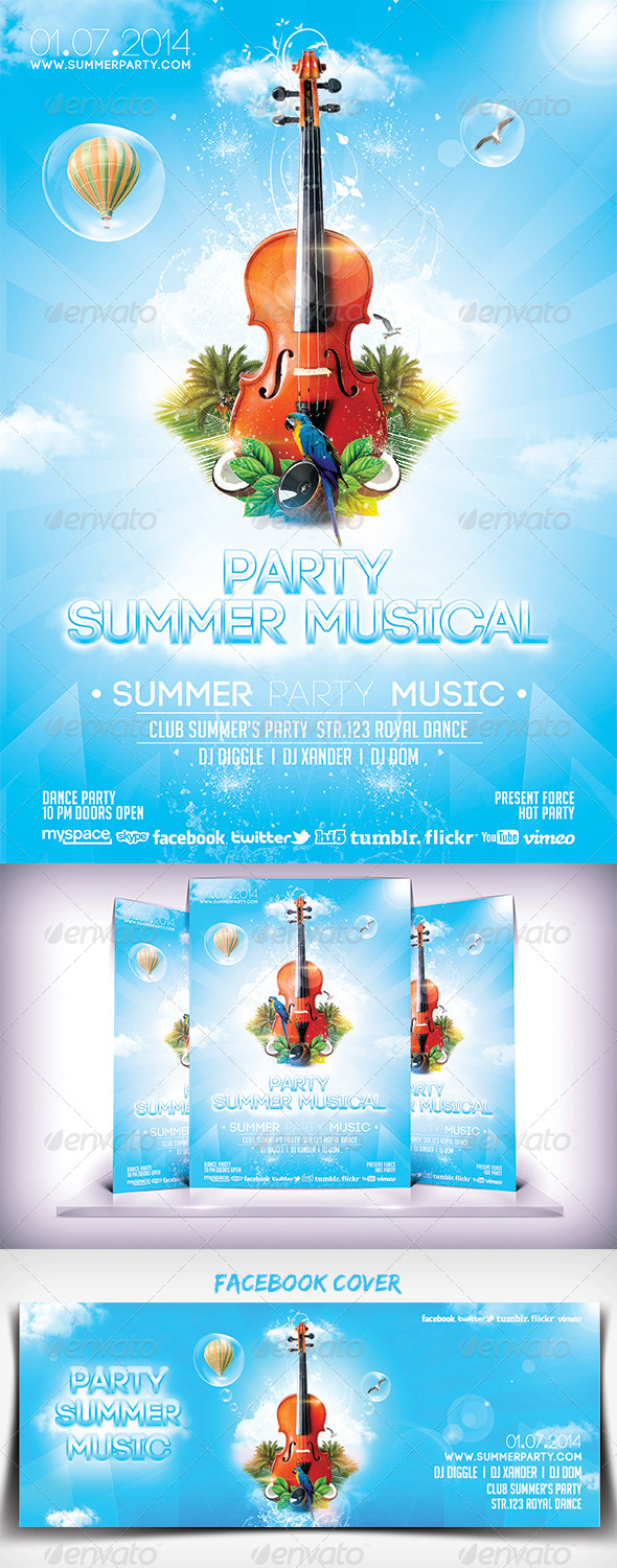 GraphicRiver Summer Musical Party Flyer 6799442