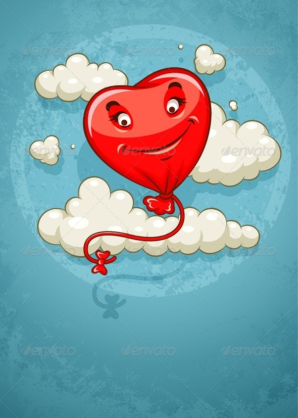 GraphicRiver Red Heart Baloon Flying Among Clouds Retro 6799850