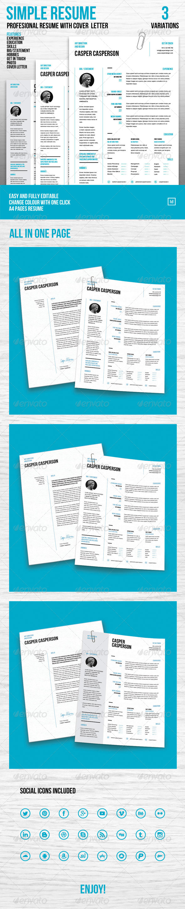GraphicRiver Simple Resume and Cover Letter 6799393