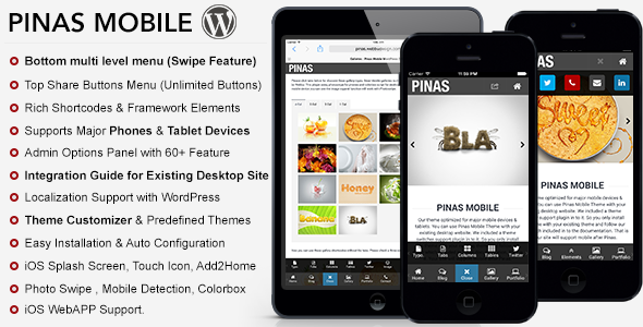 Pinas Mobile Theme is created with full customizable theme system. While coding this template we try to give you better mobile experience. Pinas have perfect m