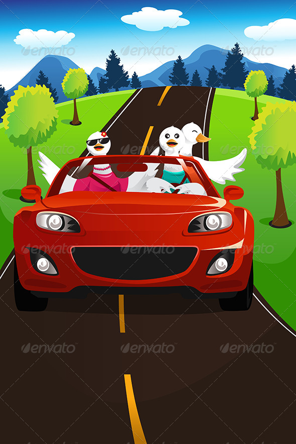 GraphicRiver Swans Going on a Road Trip 6801300