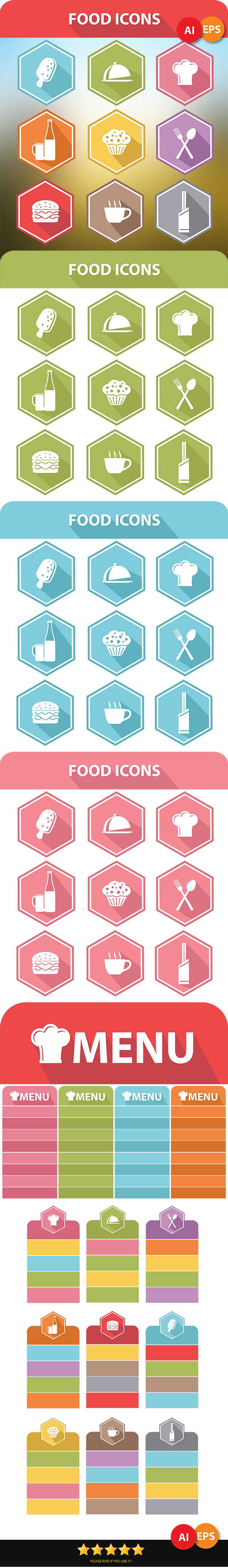 GraphicRiver 9 Food Icons & Menu Elements 6801546