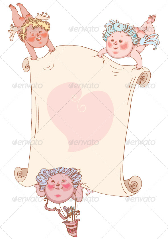 GraphicRiver Cupids with Valentine Card 6802235