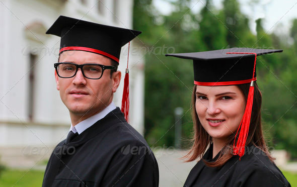 Portrait of a Couple in the Graduation Day - Stock Photo - Images