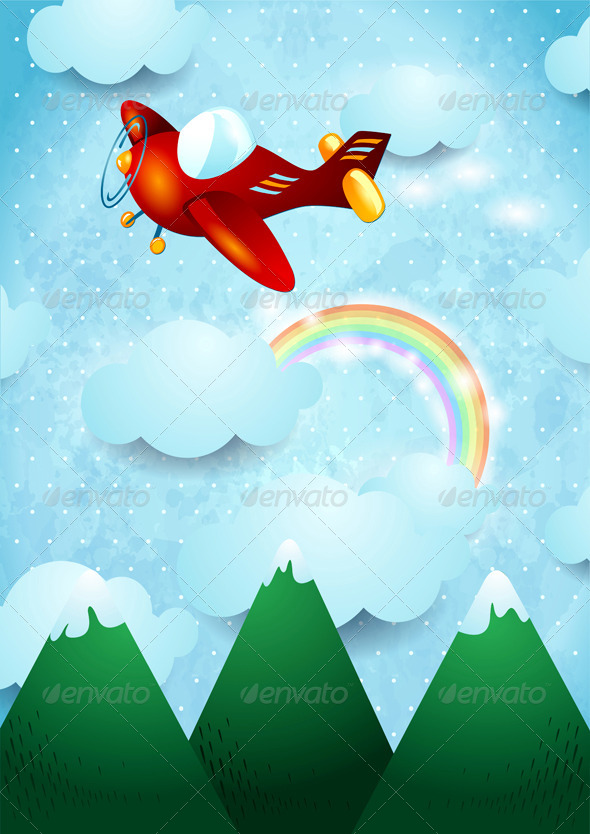 GraphicRiver Airplane Over the Mountain 6803863