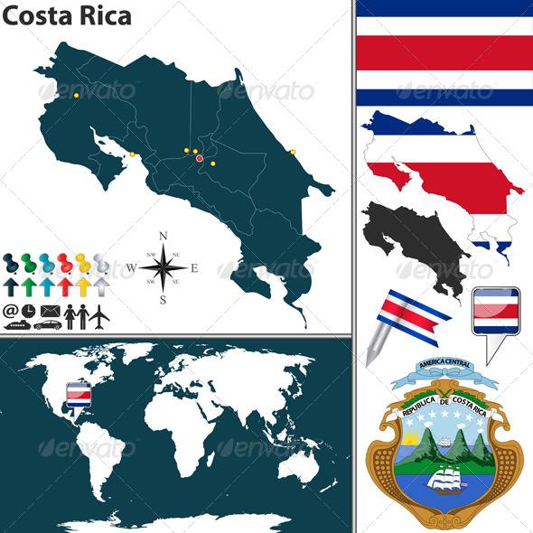 GraphicRiver Map of Costa Rica 6804340