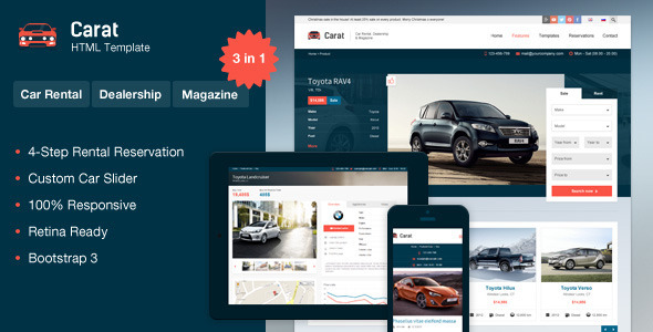 Carat - Responsive Automotive HTML Template - Corporate Site Templates