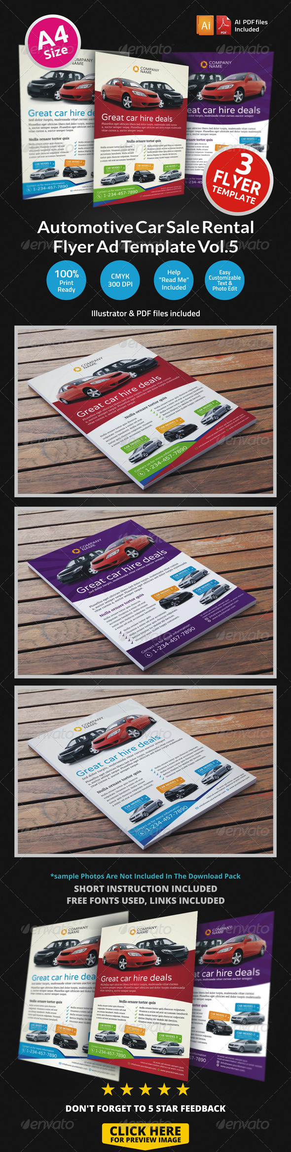 GraphicRiver Automotive Car Sale Rental Flyer Ad Template Vol.5 6805249