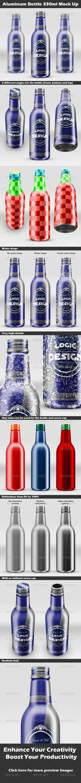 GraphicRiver Aluminum Bottle 330ml Mock Up 6805265