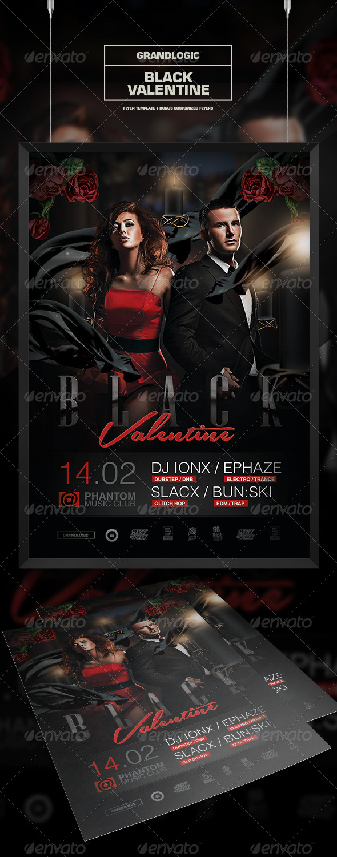 GraphicRiver Black Valentines Day Flyer Poster 6805568