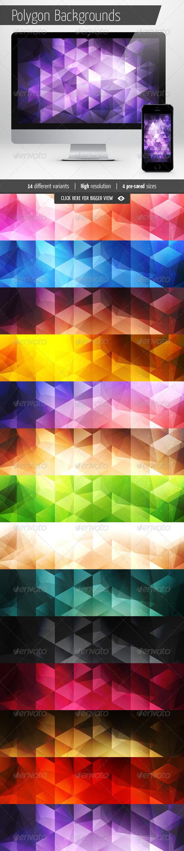 GraphicRiver Polygon Backgrounds Abstract Set 6806417