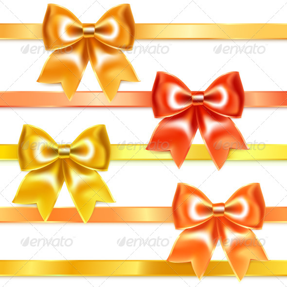 GraphicRiver Golden and Bronze Bows of Silk Ribbon 6806607
