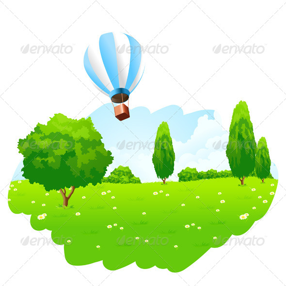GraphicRiver Green Landscape with Hot Air Balloon in the Sky 6807288