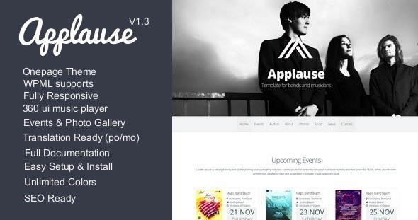 Applause -One-Page Responsive Music & DJ WP Theme - Music and Bands Entertainment