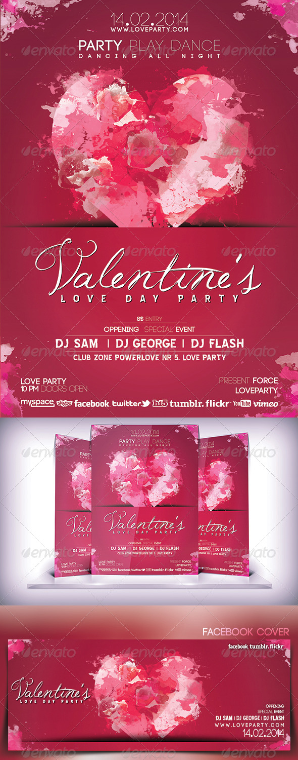 GraphicRiver Valentines Love Day Party Flyer 6808664
