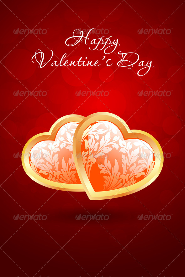 Valentine's Day Background with Floral Hearts - Stock Photo - Images