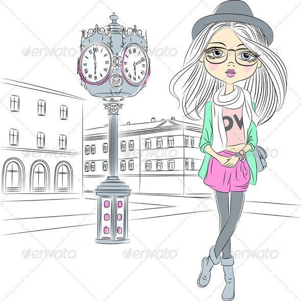 GraphicRiver Vector Hipster Fashion Girl near with a Big Clock 6809673